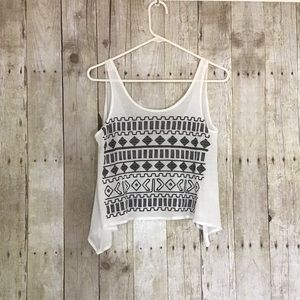 Aztec Patterned Cropped Tank Top